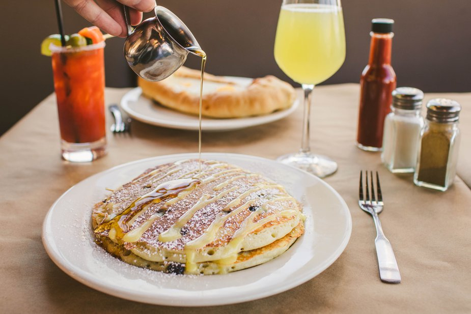 Blueberry and lemon curd pancakes at Bramble in Tulsa. Photo by Valerie Wei-Haas
