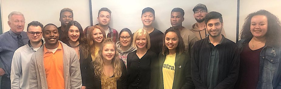Citizens Bank of Edmond president and CEO Jill Castilla with members of the #ClarkClass in UCO's Journalism Department. Photo provided by Terry Clark