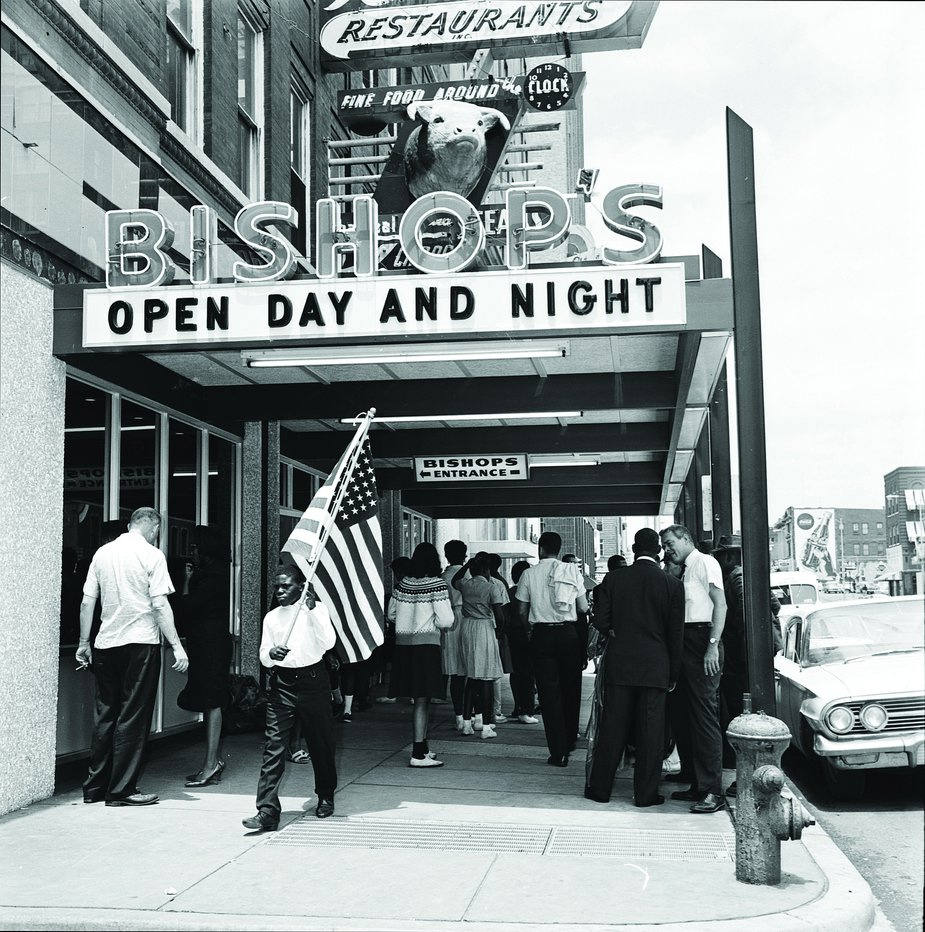 Protesters gathered at Bishop's Restaurant in downtown Oklahoma City on June 1, 1963. Photo courtesy Oklahoma Historical Society