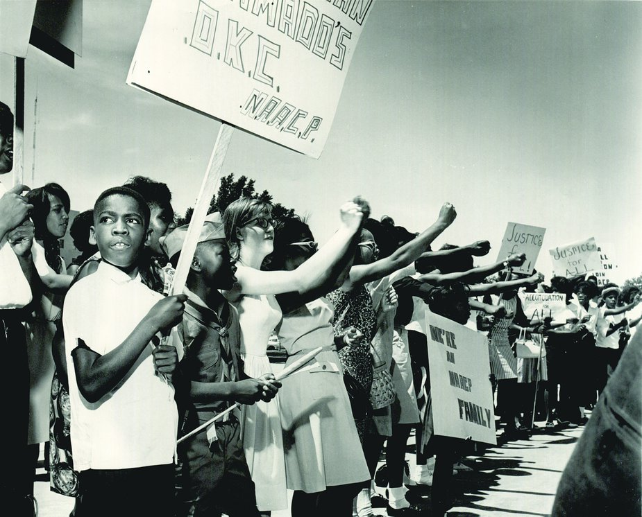 Civil rights protesters marched at the Oklahoma State Capitol on June 7, 1964. Photo courtesy Oklahoma Historical Society