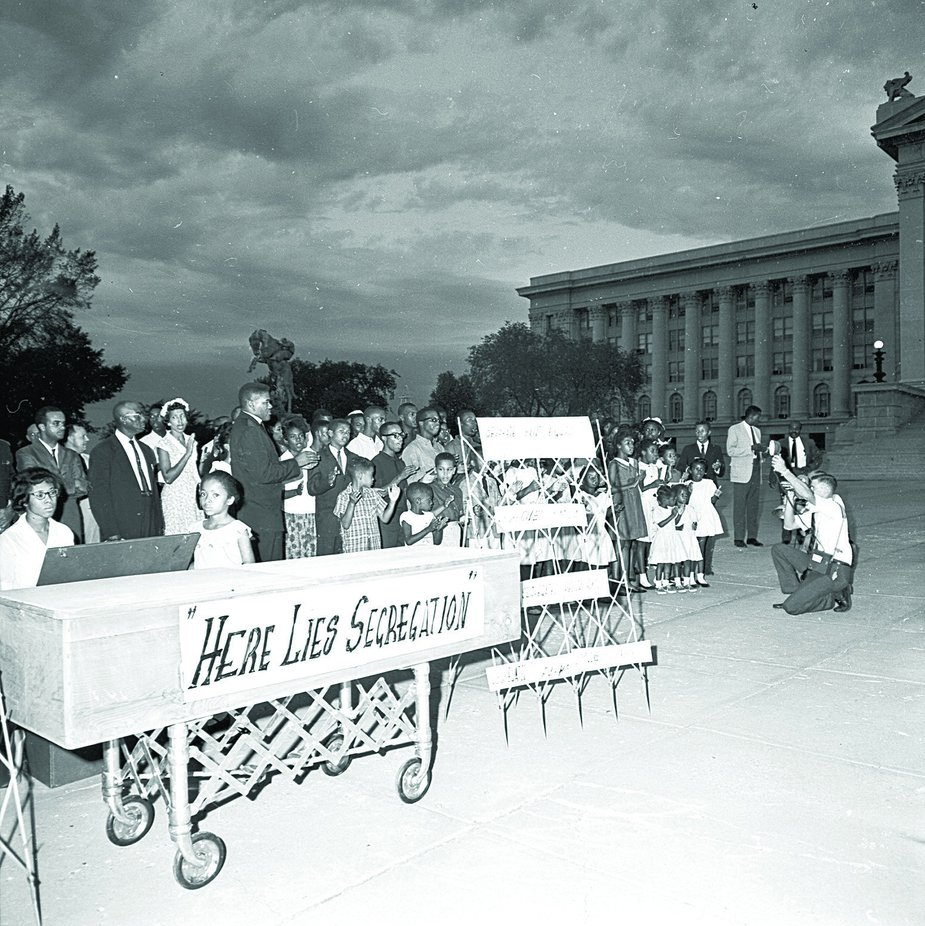 """During a protest, Oklahomans held a Jim Crow funeral at the State Capitol on August 28, 1963, which was the same day Martin Luther King Jr. delivered his """"I Have a Dream"""" speech in the nation's capital. Photo courtesy Oklahoma Historical Society"""