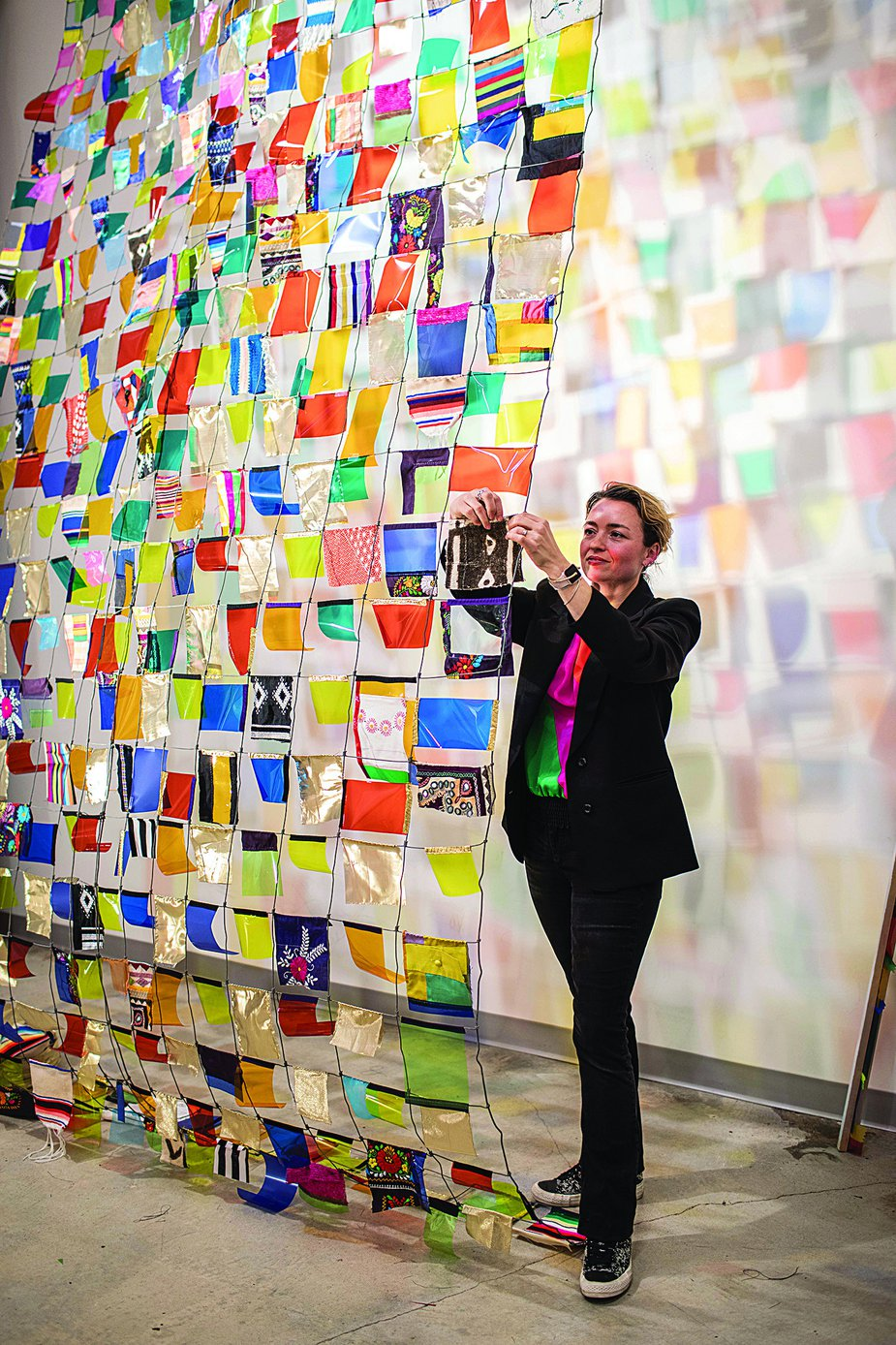 Rachel Hayes' works—often featuring colorful sheets of fabric and acetate—have been displayed across the country. Photo by Valerie Wei-Haas