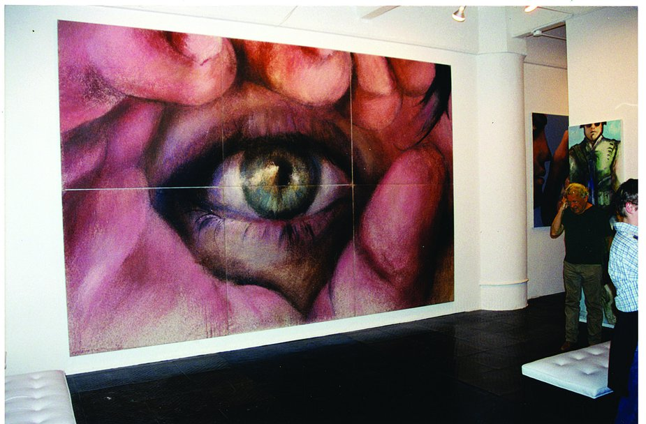 Stevenson with one of his most well-known paintings, Eye of Lightning Billy, at the Mitchell Algus Gallery in New York City in 2002. Photo by Ron Clark