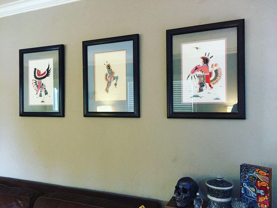 Series of three Native American paintings