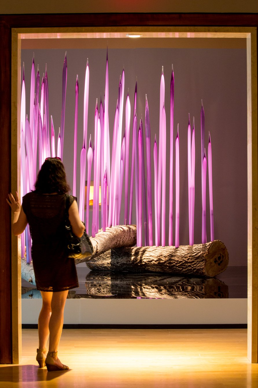 Megan Rossman enters the Dale Chihuly exhibit at the Oklahoma City Museum of Art. Photo by Lori Duckworth