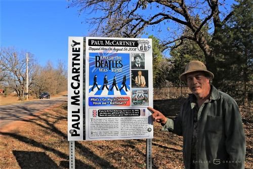 Paul McCartney sign on Route 66. Photo by Shellee Graham