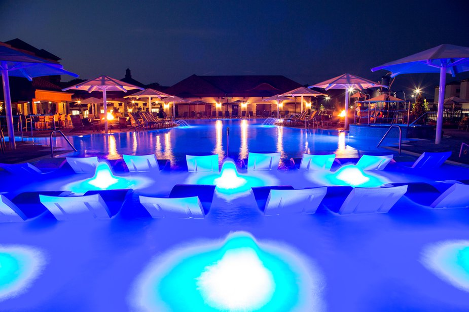 Inspiration for the pool at Shangri-La Resort on Monkey Island came from resorts in the Caribbean.