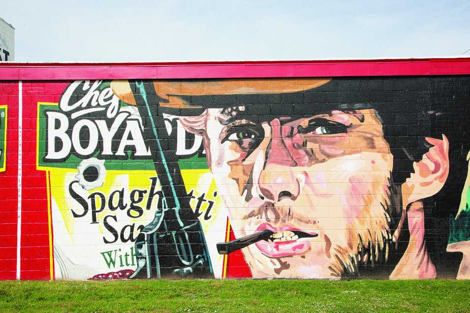 Terry and Darry Shaw also painted this Clint Eastwood ode to spaghetti westerns on the south side of Honest Harry's Pawn & Shop in Lawton.