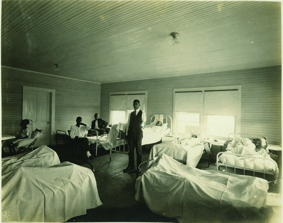 The American Red Cross set up temporary emergency wards, including this one known as the Maurice Willows Hospital, after the massacre. The Red Cross was the only organization that provided relief to victims of the violence in Greenwood. Photo courtesy of Tulsa Historical Society