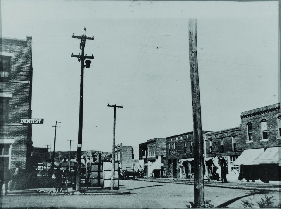 Few photos exist of Greenwood prior to the massacre. This north-facing view shows the neighborhood in 1917. Photo courtesy of Tulsa Historical Society