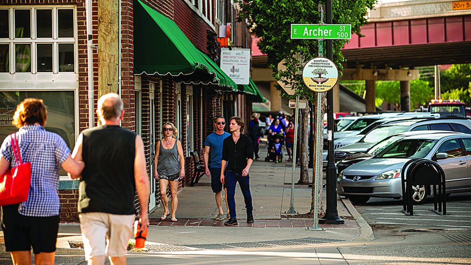 A variety of local businesses have made the area a busy commercial district once again. Photo by Shane Bevel