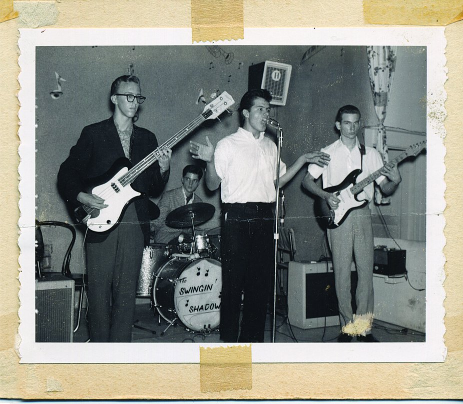 The Swingin' Shadows, left to right: Carl Radle on bass, Jimmy Karstein, Jimmy Markham, and Tommy Crook performed regularly around Tulsa during the late 1950s and early '60s. Photo courtesy OHS/OKPOP Museum Collections