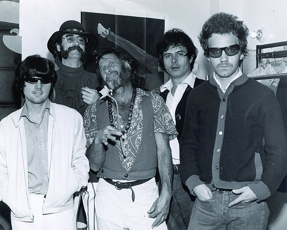 Left to right: Jimmy Karstein, Atlee Yaeger, Gypsy Boots, Jimmy Markham, and JJ Cale at the Hollywood Palladium in 1965. Photo courtesy OHS/OKPOP Museum Collections