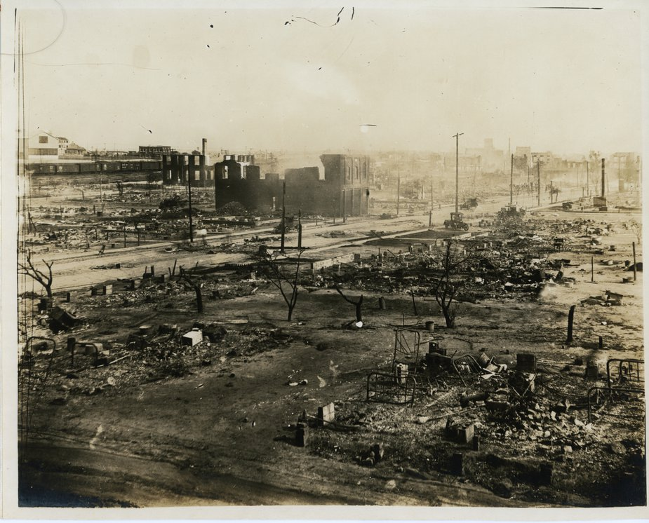 The aftermath of the Tulsa Race Massacre in 1921. Photo courtesy Tulsa Historical Society & Museum.