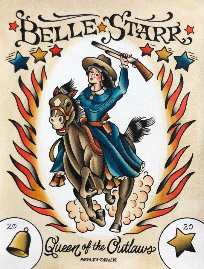 Belle Starr Queen of the Outlaws. Art by Ashley Dawn