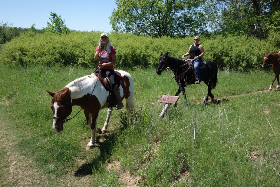 """Jeanne Keffer Remer and her """"crazy horse girl"""" friends. Photo by Megan Rossman"""