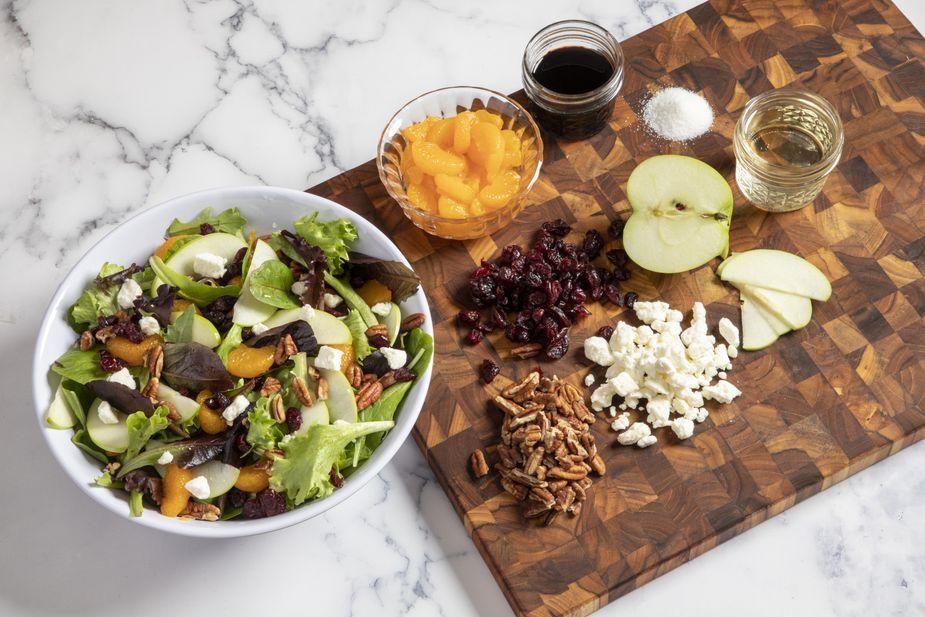 Crisp Fruit Salad  with Tangy Pecan Oil Vinaigrette